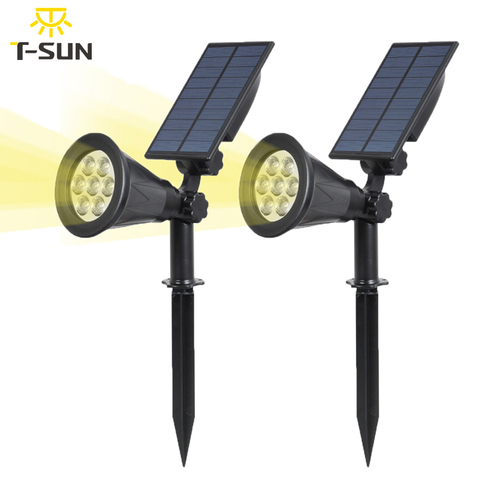 t sunrise 2 pacote 7led solar spotlight jardim ao ar livre iluminacao solar powered luz