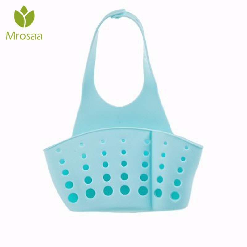 1 Pcs Mrosaa Kitchen Hanging Drain Basket Bath Storage Bag Gadget Tools Sink Holder Bathroom Basin Faucet Hollow Shelves