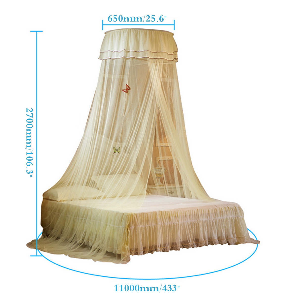 Fly Insect Protection Mosquito Net Bed Canopy Polyester Netting Cover Bed  Outdoor Curtain Dome Adult Canopies