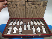 RARE Chinese Dragon wood Leather box with Chess Set.