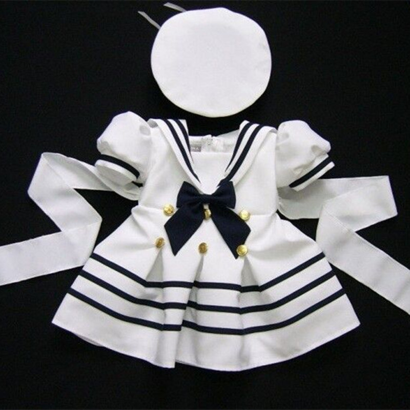 WENDYWU 2017 kids clothing set navy dress for girls baby girl clothes set girls cotton suit 2 pcs boy sailor cloth suit white fashion kids baby girl dress clothes grey sweater top with dresses costume cotton children clothing girls set 2 pcs 2 7 years