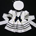 WENDYWU 2017 kids clothing set navy dress for girls baby girl clothes set girls cotton suit 2 pcs boy sailor cloth suit white