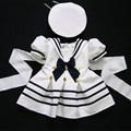 Wendywu 2017 kids clothing set marinha dress para meninas bebê menina roupas set meninas terno de algodão 2 pcs menino marinheiro terno pano branco