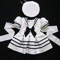 Wendywu 2017 niños clothing set navy dress para las niñas niña ropa de niñas de algodón traje 2 unids boy marinero traje de paño blanco