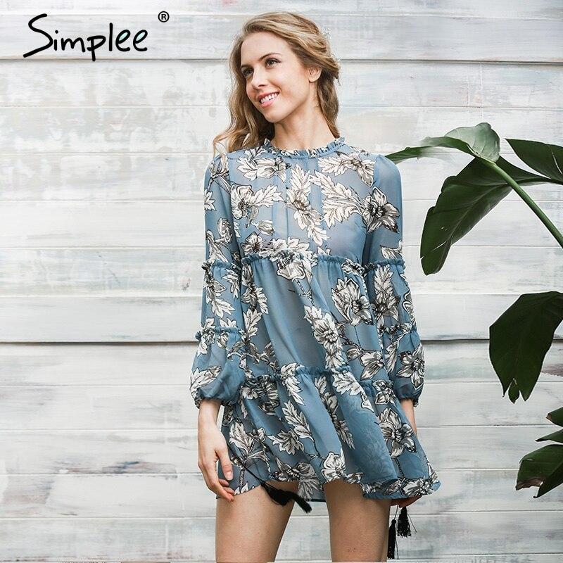 Simplee borla de las mujeres de boho de la impresión floral dress otoño invierno