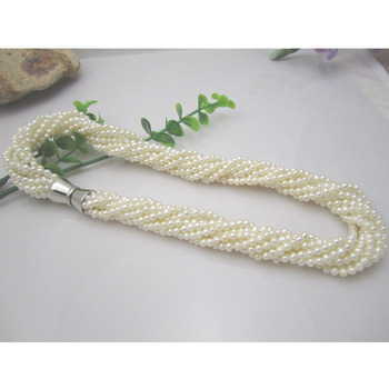 FreeShipping  White Fresh Water Seed Pearl Necklace Multilayer 3-4MM  Twist  Chockers  Necklace  For WomenJewelry  Magnet Clasp
