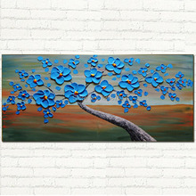 handmade contemporary acrylic heavy palette knife blue bloomming flower tree oil painting for wall decoration