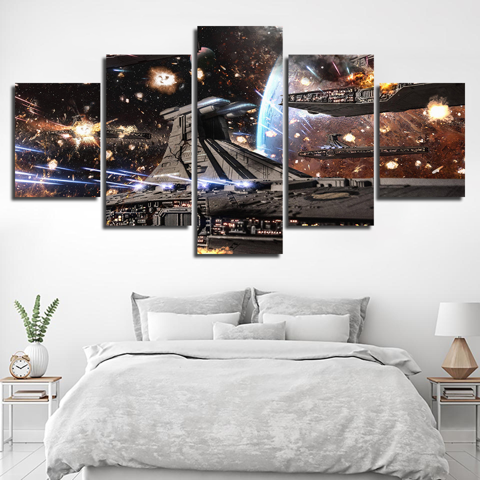 Hot Sale HD Paintings Modular Posters Home Decor Modern Printed Star Wars Movie Spaceship Tableau Wall Art Canvas Picture Framed image