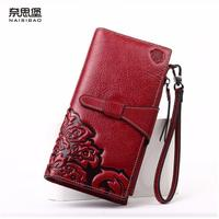 2016 New Genuine Leather Bag Women Long Hasp Wallets Brands Quality Fashion Women Purse Retro Embossing