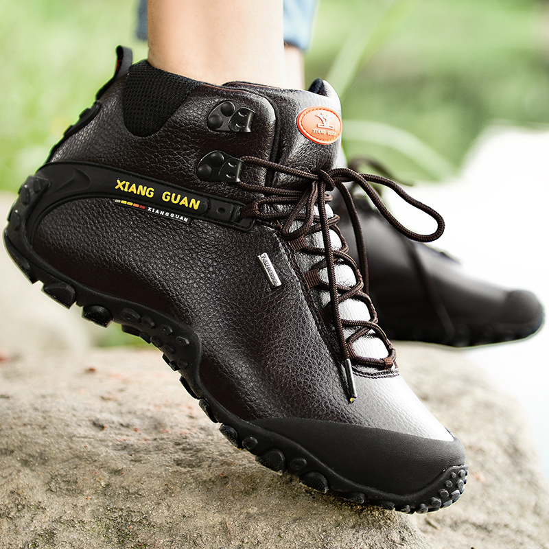 Xiangguan uomo scarpe da trekking scarpa da tennis all aperto arrampicata  in pelle di alta montagna sport trekking turismo stivali botas impermeabile  in ... 967816b9782