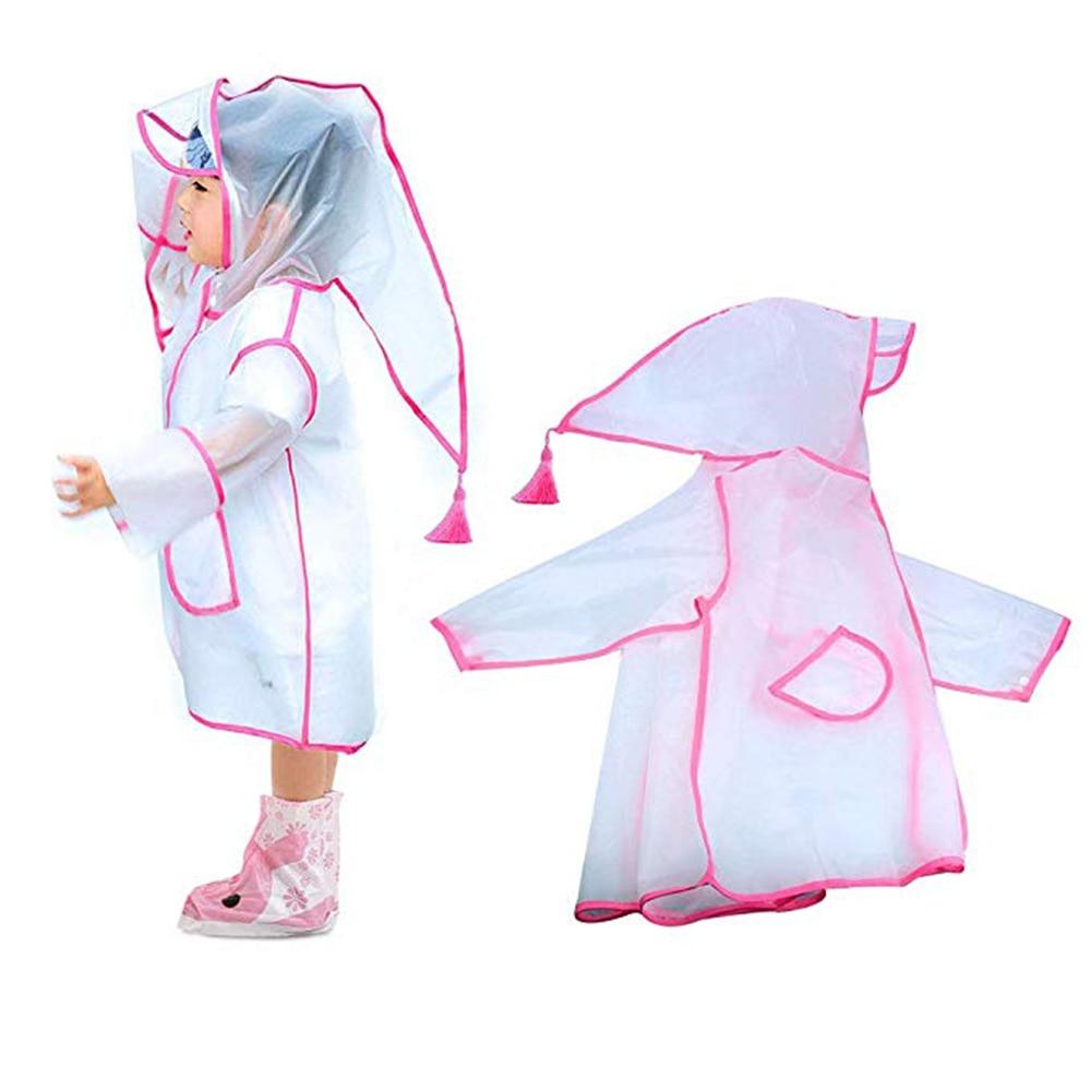 Непромокаемый детский дождевик из ЭВА прозрачный с капюшоном