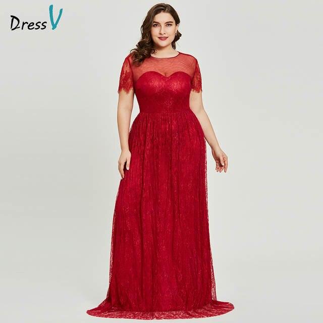 Dressv burgundy scoop neck plus size evening dress elegant a line short  sleeves wedding party formal. placeholder ... 0832117d5ddb
