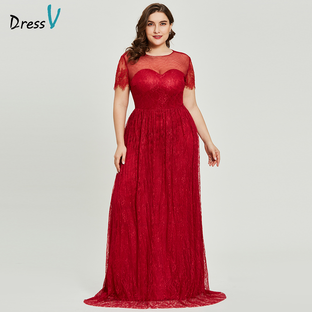 Dressv burgundy scoop neck plus size   evening     dress   elegant a line short sleeves wedding party formal   dress   lace   evening     dresses