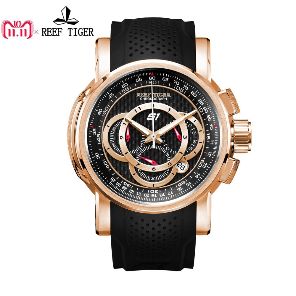 Reef Tiger/RT Designer Sport Watches with Chronograph and Date Rose Gold Quartz Watches Rubber Strap RGA3063 reef tiger rt designer sport watches for men rose gold quartz watch with chronograph and date reloj hombre 2018 rga3063
