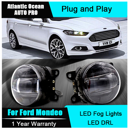 Auto Pro Car Styling LED fog lamps For Ford Mondeo led DRL with lens For Ford Mondeo LED fog lights led daytime running lights for opel astra h gtc 2005 15 h11 wiring harness sockets wire connector switch 2 fog lights drl front bumper 5d lens led lamp