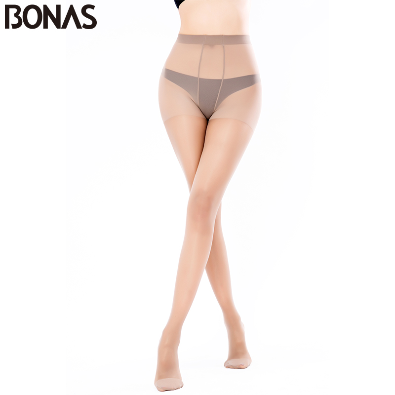 BONAS 30D seksi najlonske hlačne nogavice za dekleta poletni slog moda trdne tanke hlače za ženske elastičnost poliestra dolge nogavice brezšivne