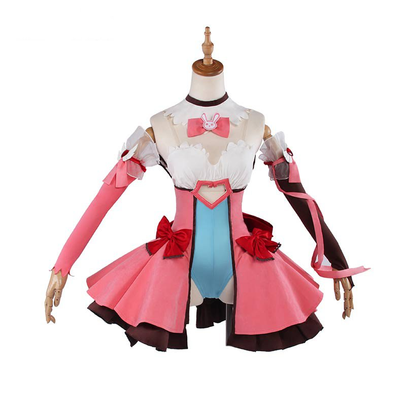 OW Costume D. VA magie fille Lolita robe rose uniforme Cosplay Costume Halloween fête tenue pour les femmes