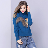 New Product Knitting fox Cartoon Loose High Collar Sweaters Plus Size Pullover 2017 Europe Autumn And Winter Sweater Women