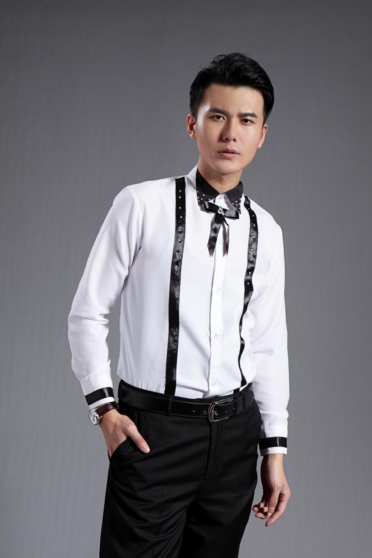 Nieuwe 2016 Mannen Wit Zwart Patchwork Mouwen Lange Overhemd 7Y6byIgvf