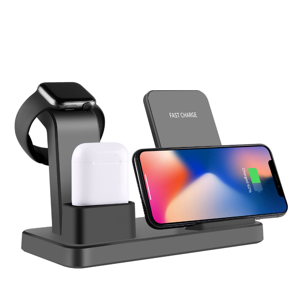 3 in 1 Wireless Charger for iPhone XR Xs Max X 8 10W Fast Charge QI Wireless Charger Stand Dock for Apple Watch and Airpods New3 in 1 Wireless Charger for iPhone XR Xs Max X 8 10W Fast Charge QI Wireless Charger Stand Dock for Apple Watch and Airpods New