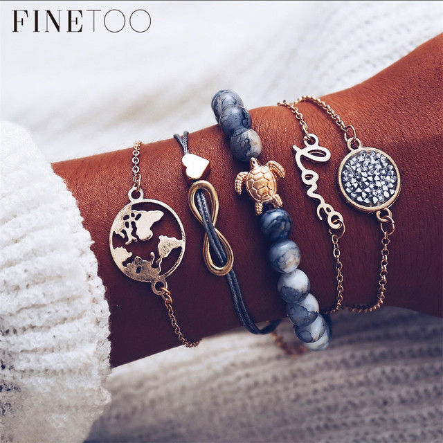 Boho Love World Map Earth Infinity Turtle Layered Bracelets For Women Fashion Crystal Natural Stone Beads