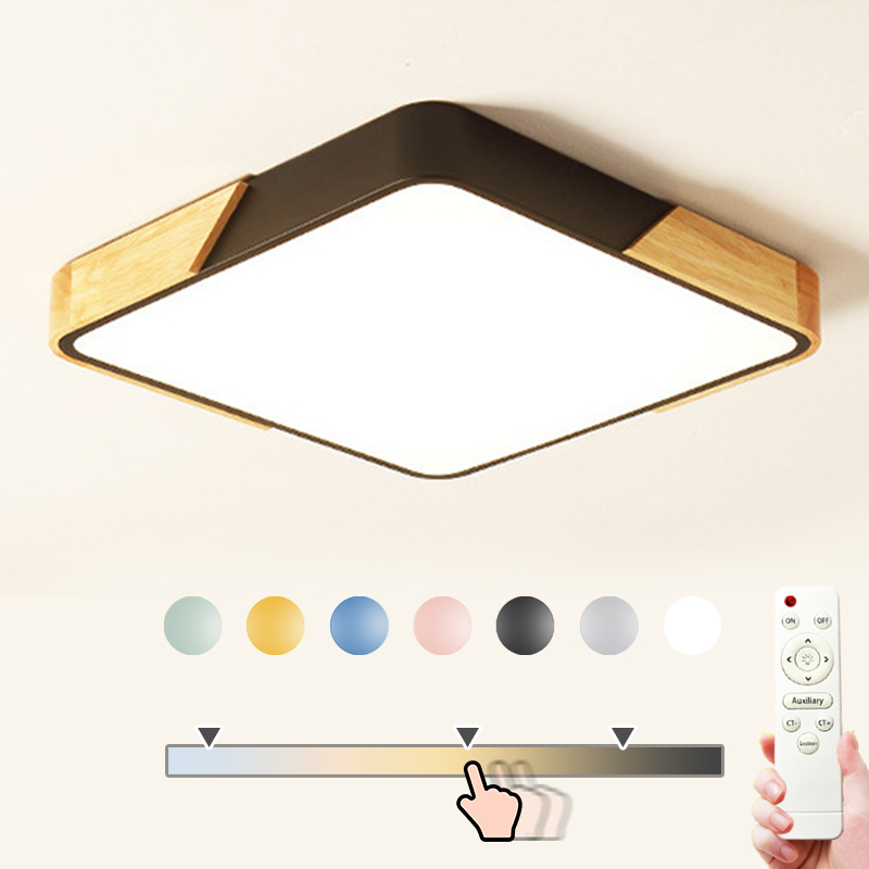 room lamp led ceiling lights with remote control modern house deco nordic wood ceiling lamp square