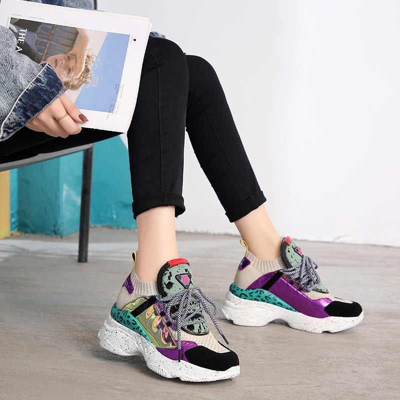 Mới Chính Hãng Da Da Lộn Tất Sneakers Nữ Mùa Hè 2019 Lông Ngựa Trang Trí Cao Giày Nữ Bố Giày Người Phụ Nữ