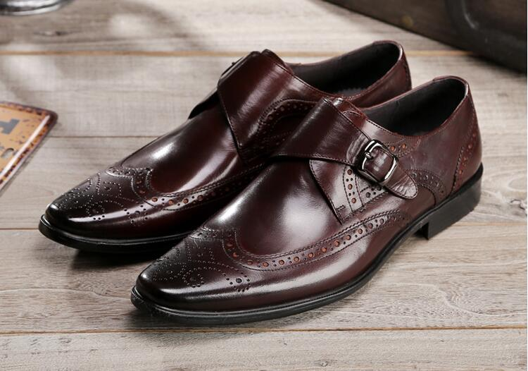 Dress shoes men buckle strap genuine leather carved brogue smart casual shoes breathable moccasins wedding party brogue shoes stylish men s casual shoes with buckle and breathable design