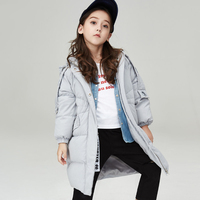 2017 Newest Girls Winter Down Jackets Fashion Grey Active Design Long Style Warm Coat For Teens
