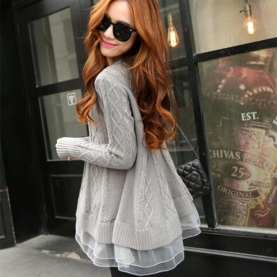 2016 Spring Korean Style Women's Long Thin O-neck Base Loose Sweater Lace Jacket