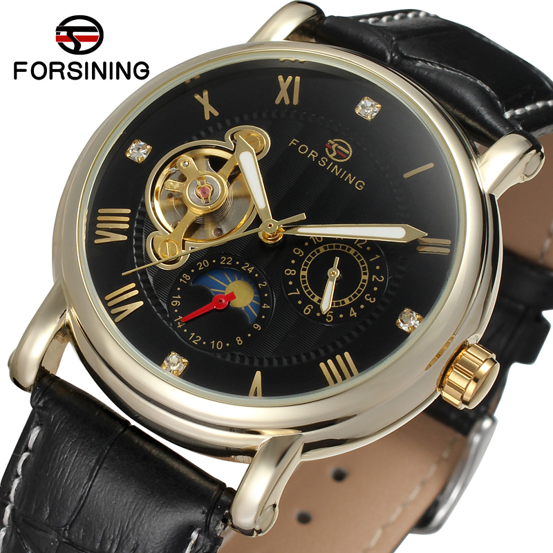 FSG800M3G1 men Automatic self- wind classic round watch with black genuine leather strap gift box whole sale free shipping forsining latest design men s tourbillon automatic self wind black genuine leather strap classic wristwatch fs057m3g4 gift box