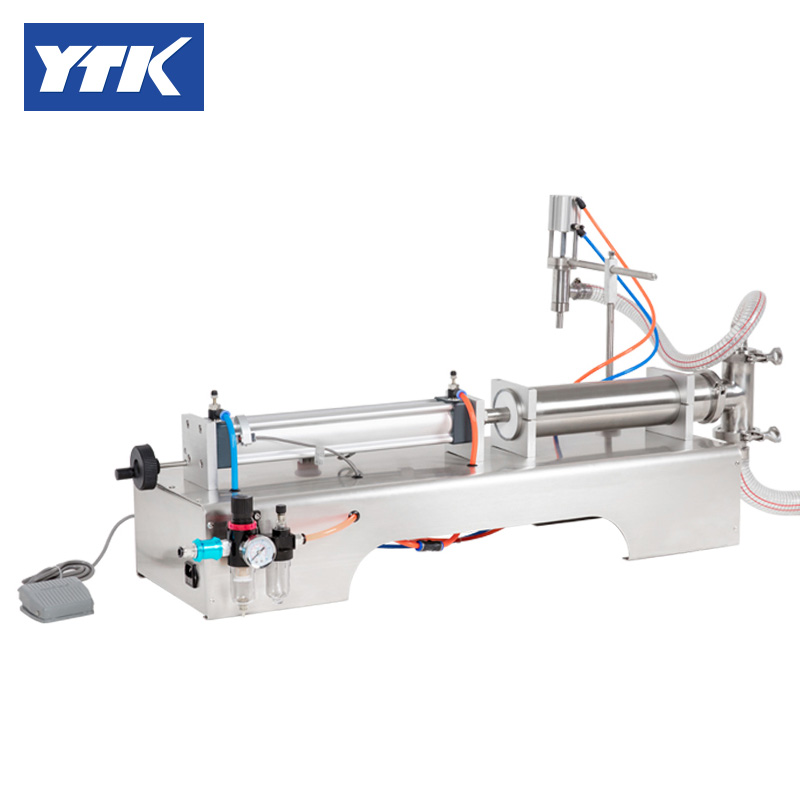 YTK 1000-5000ml Single Head Liquid Softdrink Pneumatic Filling Machine.Piston Feed Speed Adjustment Grind