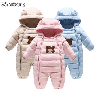 Xirubaby Winter Baby Girls Boys Rompers Thick Warm White Duck Down Baby Hooded Jumpsuit Newborn Outwear Coat Infant Snowsuit