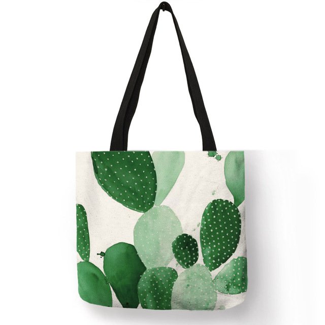 Customize Tropical Plant Print Women Lady Fashion Tote Bag Fabric Handbags Cactus Folding Reusable Ping Bags