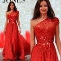 Brilhante Frisado Um Ombro Longo Vermelho Vestidos de Noite 2017 do baile de Finalistas vestido de Chiffon de Manga Curta A Linha Andar de Comprimento Pageant Partido vestidos