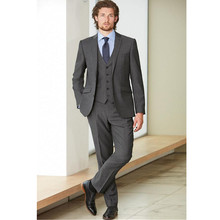 Custom Made Fashion Dark Grey Men Business Suit Men Wedding Suits Groom Tuxedos Best man Suit Groomsman(Jacket+Vest+Pant)