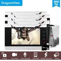 Dragonsview Wired Door Video Intercom System 4 Wires 5 Indoor Monitors and 2 Outdoor Doorbells Panel Call transfer Touch Key