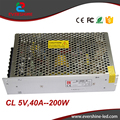 5V 40A 200W Professional low cost high reliability Single output LED display switching power supply With EMC&Safety