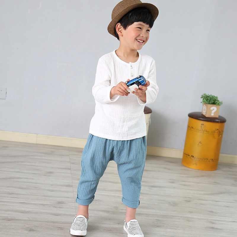 リネンコットンベビー少年少女の夏の Tシャツ新しい幼児快適なトップス Tシャツ子供服子供ボタン 80-130 センチメートル高さ