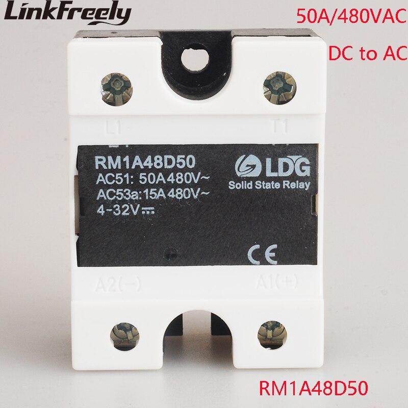 цена на RM1A48D50 5pcs PLC Solid State Relay DC AC 50A Output:42-530VAC Input:5V 12V 24V DC SSR Relay Soft Starting Relay Switch Board