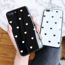 Women's Heart-shaped Mobile phone shell for iphone 7 Black high quality iphone 7 plus glass patterned case cute for iphone 6 6s