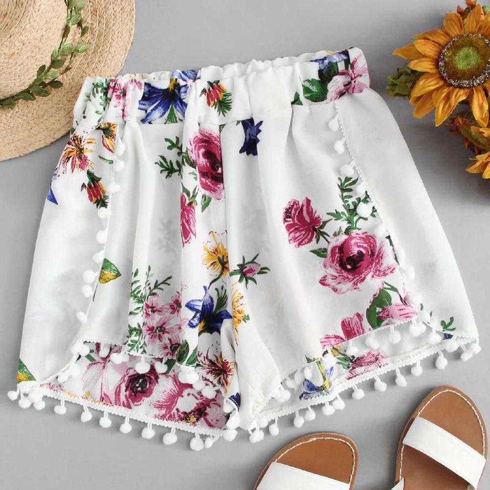 Womail Women Shorts Lace Printing Mid Waist Loose Shorts Elastic Waist Ringer Shorts De Deporte De Cintura Alta Dropship J22