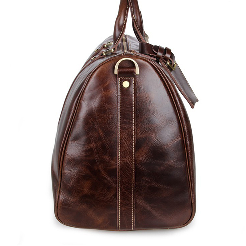 Baigio Mens Leather Travel Bags Overnight Duffle Luxury Brown Designer Brand Hand Luggage Shoulder Bag In From On