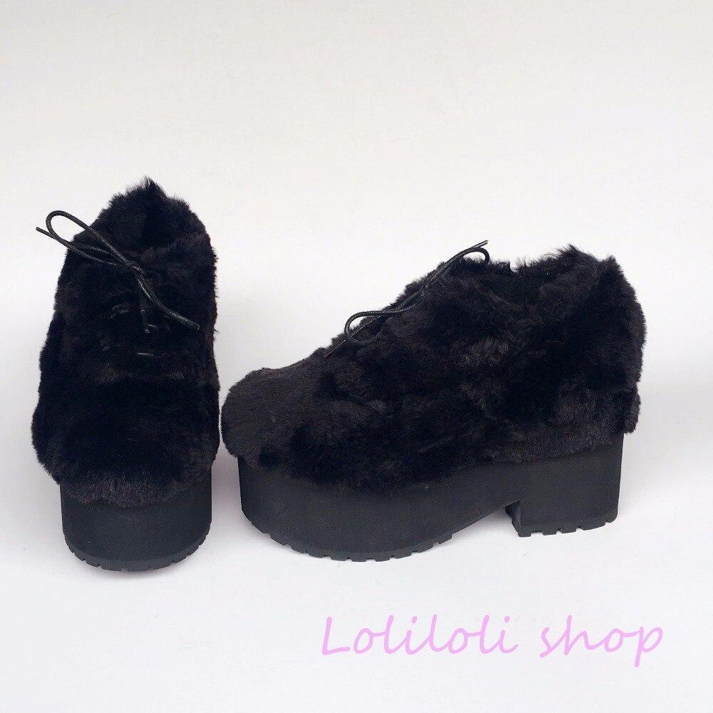 Princesse douce lolita chaussures lolioli yoyo design japonais personnalisé noir castor peau de lapin fourrure à lacets chaussures à talons carrés an4174 - 3