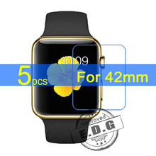 5pcs Gloss Ultra Clear LCD Screen Protector Film Cover For Apple Watch 42mm Film  cloth