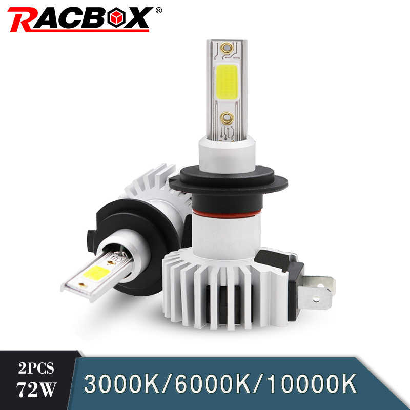 RACBOX 72W Led car Headlight H1 H3 H4 H7 H8 H9 H11 9005 9006 HB3/4 COB 8000LM 3000K 6000K 10000K 12V 24V Mini Lamp Auto Styling