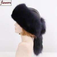 2019 New Luxury Winter Women Natural Fox Fur Hat Warm Good Quality 100% Genuine Sheepskin Leather Cap Lady Real Fur Bomber Hats