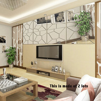 4pcs Bathroom Mirror Entrance Walkway Background Cracks Geometric Pattern 3D PS Silver Gold Mirror Wall Stickers