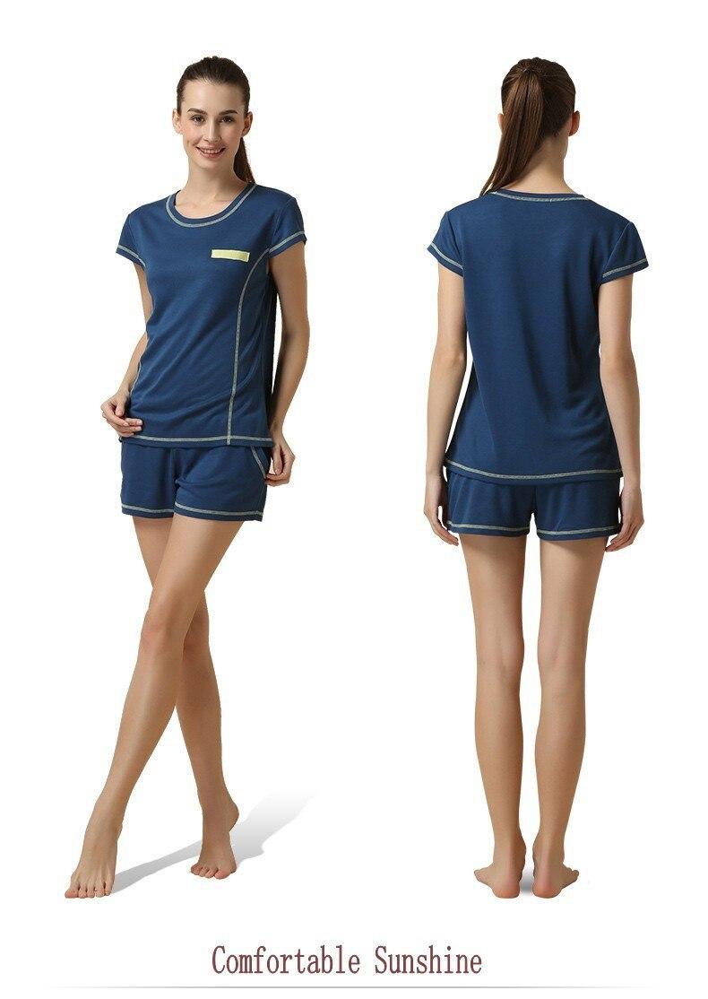 Summer Women Casual Pajama Sets Women Soft Modal Sleepwear Men Short Sleeve T Shirt + Shorts Girls Plus Sise Pyjama Sets