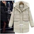 Novo 2014 casaco de lã de cordeiro grosso modelos femininos jaqueta de inverno em longo inverno casacos de algodão acolchoado jaqueta de grande tamanho L XL XXL